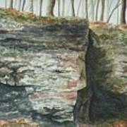 Cleft.  Rock Shelf Fissure And Autumn Leaves Art Print