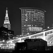 Cleveland Black And White Panoramic Art Print