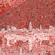 Cleveland Skyline Abstract 10 Art Print