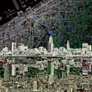 Cleveland Skyline Abstract 4 Art Print