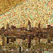 Cleveland Skyline Abstract 6 Art Print