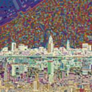 Cleveland Skyline Abstract 8 Art Print