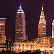 Cleveland Skyline Night Color - Downtown Buildings Art Print
