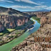 Cliff View Of Big Bend Texas National Park And Rio Grande Text Big Bend Texas Art Print
