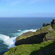 Cliff's Of Moher With White Water At The Base In Ireland Art Print