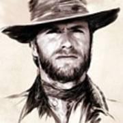 Clint Eastwood Portrait Art Print by Wu Wei