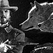 Clint Eastwood With Wolves Art Print