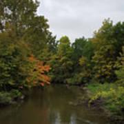 Clinton River In Autumn Cloudy Day Art Print