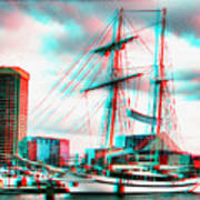 Clipper City - Use Red-cyan 3d Glasses Art Print