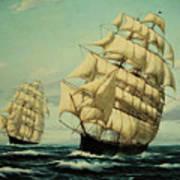 Clipper Ships Racing To Port Art Print