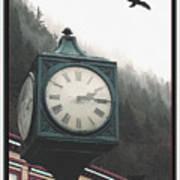 Clock Raven Art Print