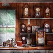 Clocksmith - In The Clock Repair Shop Art Print by Mike Savad