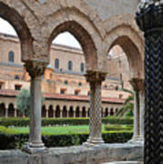Cloister Of The Abbey Of Monreale. Art Print