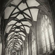 Cloisters Of Basel Munster Switzerland In Black And White  Art Print