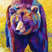 Close Encounter - Grizzly Bear Art Print by Marion Rose