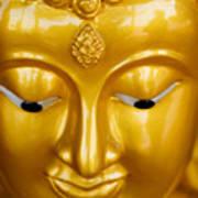 Close-up Of A Golden Buddha Art Print