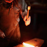 Close-up Of  Blacksmith Forging Hot Iron Art Print
