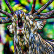 Close Up Of Huge Male Elk Bugling Art Print