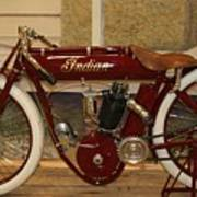 close up of red Indian motorcycle   # Art Print