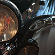 Close Up On Black Shining Car Round Light Art Print