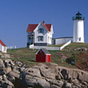 Close Up View Of A Lighthouse Cape Neddick Maine Art Print