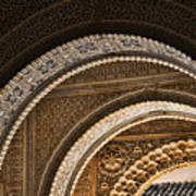 Close-up View Of Moorish Arches In The Alhambra Palace In Granad Print by David Smith