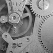 Closeup Macro Of Clock Mechanism Art Print