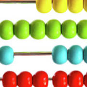 Closeup Of Bright  Abacus Beads On White Art Print by Sandra Cunningham