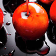 Closeup Of Red Candy Apple On Stick Art Print