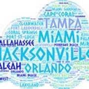 Cloud Illustrated With Cities Of Florida State Art Print