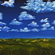 Clouds And Grass Field Art Print