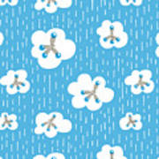 Clouds And Methane Molecules Pattern Art Print