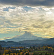 Cloudy Day Over Mount Hood At Hood River Oregon Art Print