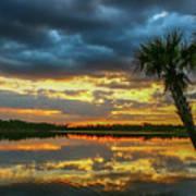 Cloudy Lake Sunset Art Print