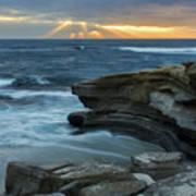 Cloudy Sunset At La Jolla Shores Beach Art Print