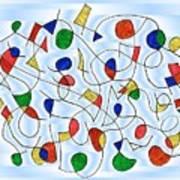 Clown Memory Cells Blue Art Print