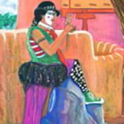 clown on Taos plaza Art Print