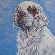 Clumber Spaniel In Snow Art Print
