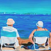 Clyde And Elma At The Beach Art Print