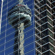 Cn Tower Reflected In A Glass Highrise Art Print