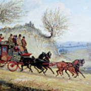 Coaching Oil Of A Royal Mail Coach Crossing Landscape Art Print