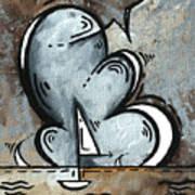 Coastal Art Contemporary Sailboat Painting Whimsical Design Silver Sea II By Madart Print by Megan Duncanson
