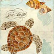 Coastal Waterways - Green Sea Turtle Rectangle 2 Art Print