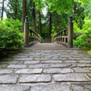 Cobblestone Path To Wood Bridge Art Print