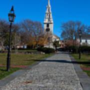 Cobblestone To Trinity Church Newport Rhode Island Art Print