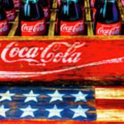 Coca Cola And Wooden American Flag Art Print