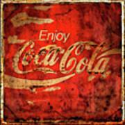 Coca Cola Square Aged Texture Black Border Art Print