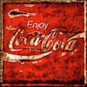 Coca Cola Square Soft Grunge Art Print