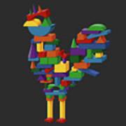 Cock Block Farm Rooster Art Print
