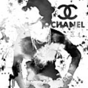 Coco Chanel Grunge Art Print